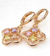 fashion1uk 18K Yellow Gold Plated Pink Simulated Diamond Drop Dangle Earrings