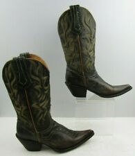 Ladies Stetson Brown Distressed Leather Western Cowgirl Boots Size : 6.5