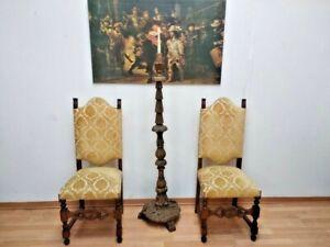 Vintage Pair oak wood sacristan church religious chairs (2) velvet