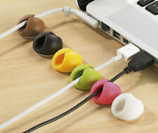 6 Colour Cable Drop clip pen holder organiser wire cord lead USB CHARGER HOLDER