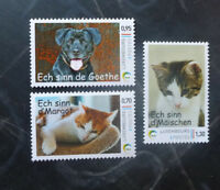 2016 LUXEMBOURG CATS & DOGS SET OF 3 MINT STAMPS MNH