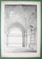 ARCHITECTURE PRINT 1858: Italy Palermo Interior of Torre di Santa Ninfa