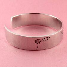 Dandelion Wish Hand Stamped Cuff Bracelet Adjustable Aluminum Bracelet