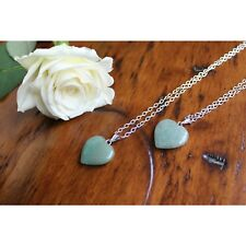 Aventurine Heart Pendant Necklace Healing Gemstone Chakras Stone Jewellery