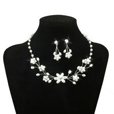 Silver Wedding Jewelry Flower Beaded Pearl Rhinestone Necklace Earring Set