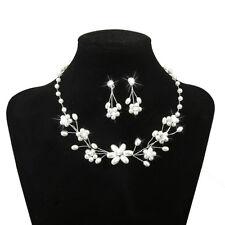 Silver Wedding Jewelry Flower Beaded Pearl Rhinestone Necklace Earring Set