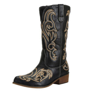 SheSole Women Ladies Winter Cowgirl Cowboy Boot Western Faux Leather Mid Calf