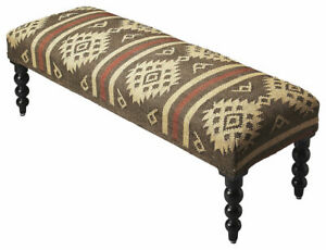 Navajo Jute Style Upholstered Bedside or Foyer Bench