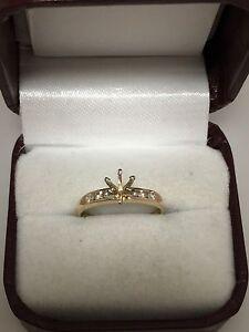 14k Yellow Gold Round Diamond 6 Prong Semi Mount Engagement Ring Size 4.5