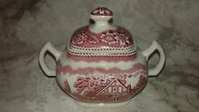 Wood & Sons Handled/Lidded Sugar Bowl ~ Woodland Pink Burslem England