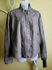 Bernardo Gray Faux Leather Chic Motto Jacket Lined Coat XL Pleather Fall Zipper