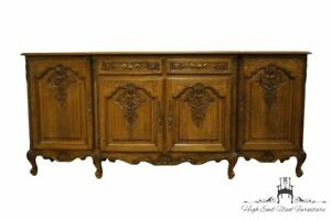 "Vintage Antique Walnut Louis XVI French Provincial 87"" Sideboard Buffet"