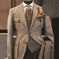 Tweed Herringbone Business Men Jacket Prom Wedding Groom Suit Party Suit 3 Piece