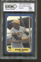 1986 Fleer Update Barry Bonds #U-14 Gem Elite10 Pristine RC Rookie Pirates