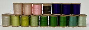 Vintage Silk Thread Lot, 12 Wooden Spools, J.&P. Coats, Beldins