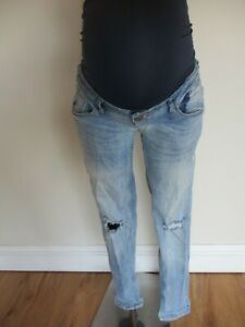 BLOOMING MARVELLOUS MATERNITY BLUE OVER BUMP DISTRESSED SKINNY JEANS SIZE 10