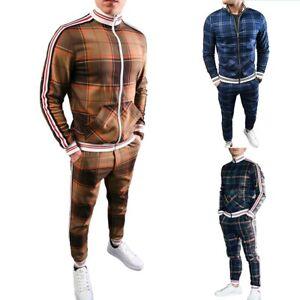 Mens Tracksuit 2 Piece Casual Pants Jacket Sweatsuit Hip Hop Sweatshirt Suit Set