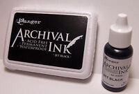 Ranger Archival Ink - Jet Black Stamp Pad and Reinker Acid Free Waterproof