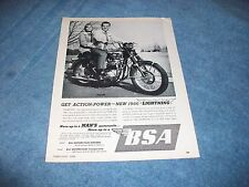 "1966 BSA Lightning Vintage Motorcycle Ad ""Get Action-Power"""