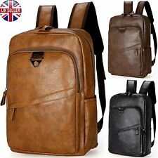 Men Laptop Backpack Travel School Bag Leather Shoulder Handbag Business Rucksack