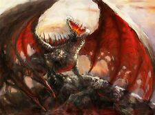 ART PRINT POSTER PAINTING DRAWING FANTASY MONSTER DRAGON FIRE WINGS LFMP1048