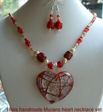 New Red Murano style lampwork beads necklace 18ins set gift in box.