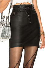 ALEXANDER WANG HIGH WAIST (STRETCH) LEATHER MINI SKIRT WITH FLAT STUD BOTTON SIZ