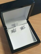 White gold finish princess cut created diamond stud earrings free postage A7