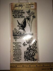 (#3581) Tim Holtz Clear Stamps Flights of Fancy Flowers, Flourishes,Bird,Phrases