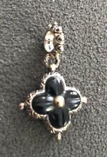 Barbara Bixby Black Onyx Lotus Flower Charm Sterling Silver 18K Pendant $75 Retl