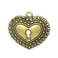 2 Pcs Charm Pendants Heart Lock Gold Plated Army Green 26mm x 24mm LC1320