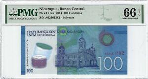 P-212a 2014 100 Cordobas, Nicaragua, Banco Central, PMG 66EPQ GEM +