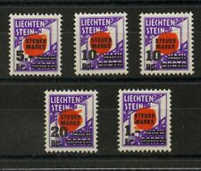 Liechtenstein, Fiscal. MH *Yv . 1938. Serie completa, cinco valores. STEVER MAR