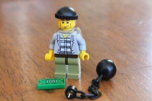1x LEGO Minifig Minifigure Criminal Jail Prisoner Robber Ball Chain Gold Bar