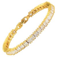 Melina White Topaz Cubic Zirconia Square Cut 18K Yellow Gold Gp Tennis Bracelet