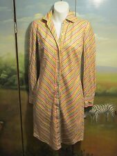 Victoria's Secret Moda International Yellow, Blue, Pink Stripe Shirt Dress 2