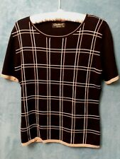 Claudia C. Ladies Knit Top Size M Black Fitted Check Office Work Career Wear