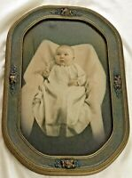 "Antique Photograph of Charming Baby Original Barbola Frame 21"" x 14"" Exc Cond"