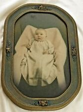 Antique Photograph of Charming Baby Original Barbola Frame 21� x 14� Exc Cond