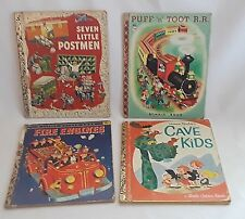 Vintage A Little Golden Book Lot FIRE ENGINES Puff n Toot RR Cave Kids 1950-60's