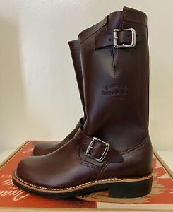 "Chippewa Raynard 11"" Pull-On Harness Boots Leather Cordovan Women's Sz 6.5 M NEW"