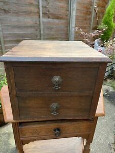 Vintage Oak Drawers Chest Filing Cabinet Storage Unit