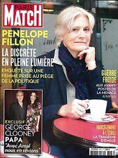 PARIS MATCH N°3536 23 FEVRIER 2017 PENELOPE FILLON/ CLOONEY/ GUERRE FROIDE/ HORN