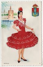 SEVILLA SPAlN PC Postcard EMBROIDERED Elsi Gumier EMBROIDERY Fabric SEVILLE