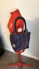 Tignanello Dark Purple Leather Shoulder Bag Handbag Tote