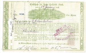Stk Milwaukee & St. Paul Ry 1868 s/p W.S. Gurnee. Issued to Selah Chamberlain