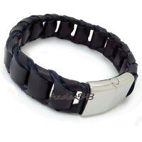 Men Genuine Braided Black Leather Stainless Steel Magnetic Lock Bracelet 21.5cm