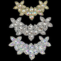 DIY AB Crystal Rhinestone Beaded Applique Trim Sew Iron on Bridal Costume Crafts