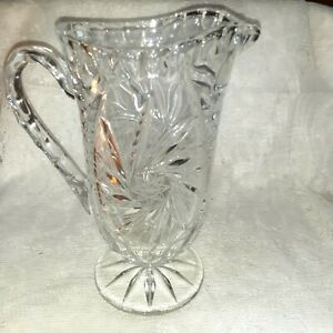 """Vintage Crystal Footed Pitcher Swirl Design with Star in the Middle 8.5"""" Tall"""