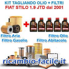 KIT TAGLIANDO FIAT STILO 1.9 JTD 4 FILTRI + 5 OLIO MOTUL 8100 5W40 80 90 115 CV